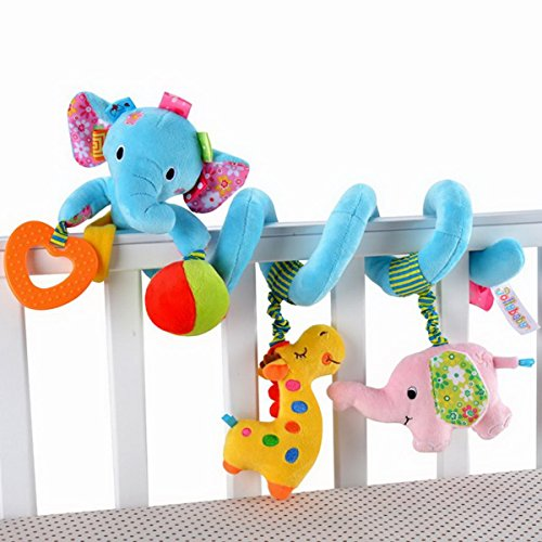 Elefante da neonato Baby Activity Spiral Bed &-Giocattolo da appendere, Trillino Bell-Giocattolo per culla, colore: blu
