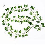 Elevin(TM) 12pcs 2.1M Artificial Ivy Leaf Garland Plants Vine Fake Foliage Flowers Home Garden Party Decoration (D)
