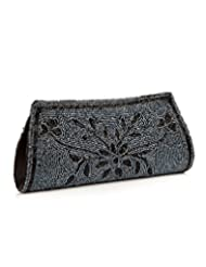 Voylla Voylla Gleaming Grey And Black Floral Leaf Beaded Clutch