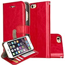 buy E-Joy R64 Leather Wallet Case With Card Slot For Iphone 6S Plus - Red