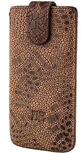 Bouletta MC MOZAIK Antic Coffee Apple iPhone 4S 4 Echt Leder Tasche Etui Hülle Case Handytasche Schutzhülle - Mit extra Frontpolsterung Rausziehlasche Magnetverschluss 100% Passgenau