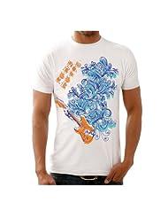 Funktees Men's Round Neck Cotton T-Shirt White Medium
