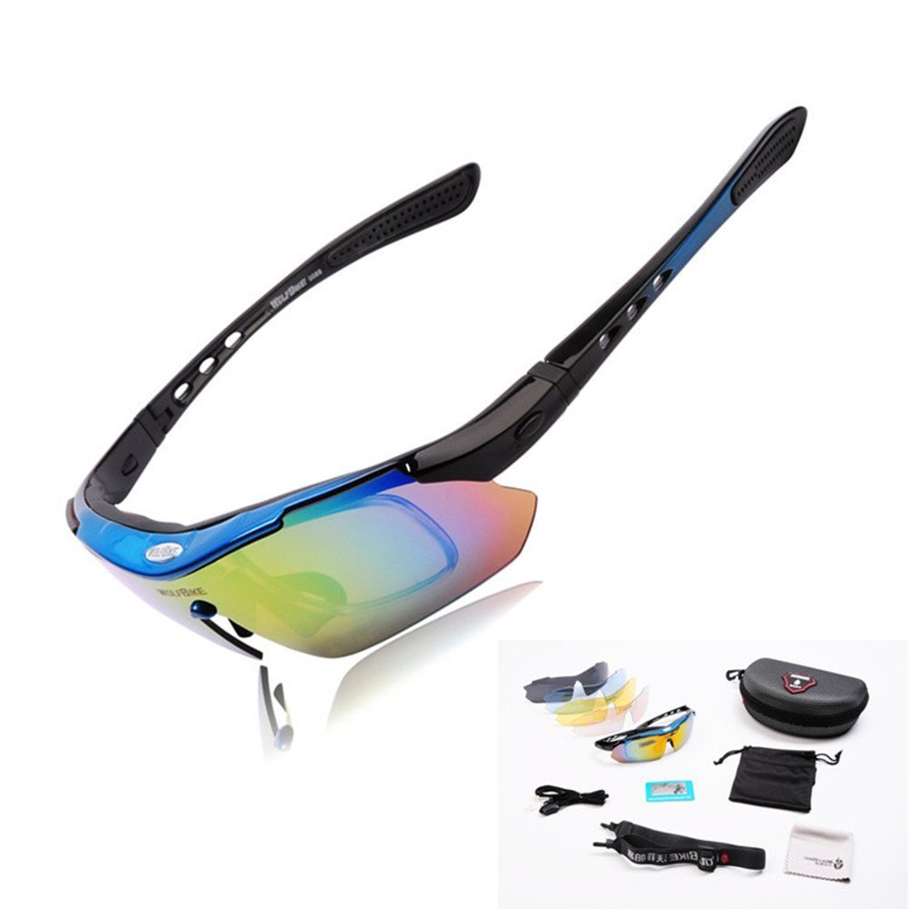 Amazon.com : WOLFBIKE Polarized Cycling Sun Glasses Outdoor Sports Bicycle Sunglasses Ski Goggles Eyewear Cool with Exchangeable 5 Lens White Frame