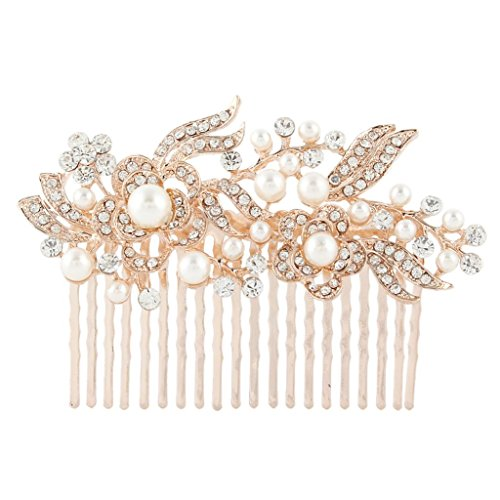 EVER FAITH® Cream Simulated Pearl Austrian Crystal Bridal Flower Hair Comb Clear Rose Gold-Tone