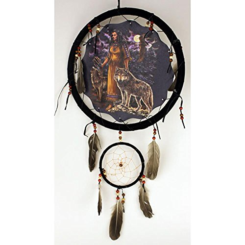 1 X Indian Maiden with Wolves Walking Dream Catcher 13 Inches