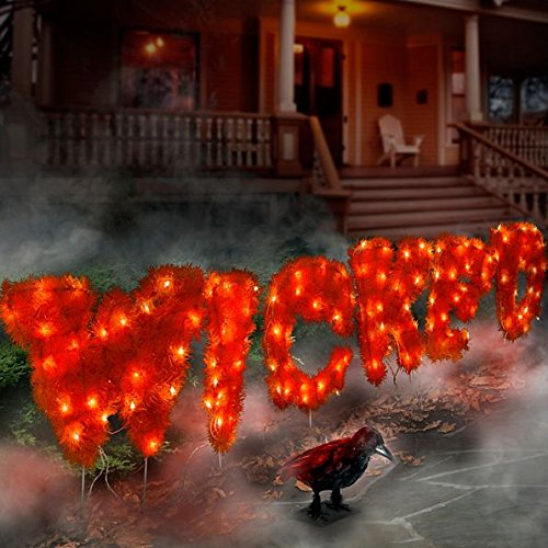 [Spooky Pre-Lit Glowing Orange Wicked Sign Halloween Decor | Perfect Indoor / Outdoor Decoration by the Yard or] (Broadway Wicked Halloween Costumes)