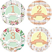 Wooden Aquarelle Monthly Baby Stickers Girl - Baby Girl - Milestone Stickers - 1-12 Months - Onesie Stickers -...