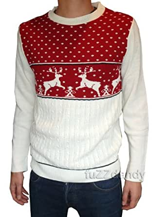 Mens cable knit reindeer christmas jumper xs s m l xl (XS)