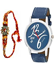 Gift For Boys, Men, Bro, Brother, Rakhi Gift, Blue Dial Analogue Casual Wear Stylish Watch With Free Rakhi (Rakhi...