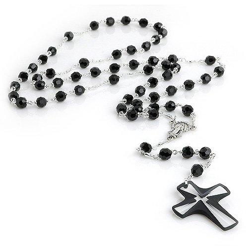 6mm Black Swarovski Crystal Bead Rosary Necklace