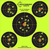 "50 Pack - 12""x12"" (5) Bullseye Splatterburst Target - Instantly See Your Shots Burst Bright Florescent Yellow Upon Impact!"