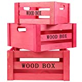 JAM Paper® Nested Wood Crates - Pink Decorative Wooden Crate Set with Handles - 3 Wooden Boxes per Set