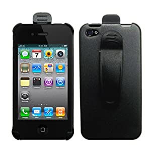 Cbus Wireless Black Holster Case w/ Ratcheting Belt Clip for Apple iPhone 4S / iPhone 4