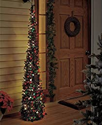 Affordable, Collapsible 65 Lighted Christmas Trees in Green/red for Small Spaces with Timer by LT2