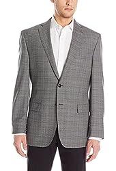 Calvin Klein Men's Malik Grey Plaid Two-Button Sport Coat