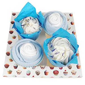 Baby Boy Sock Cupcakes with Mummy Bath Melts
