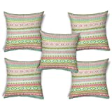 ShopMantra Green Tribal Pattern Printed Cushion Cover Set Of 5 16*16 Inch Multicolor Cushion Cover