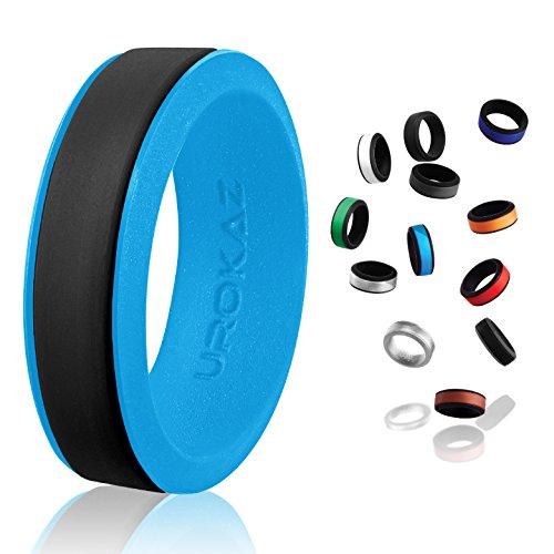 UROKAZ   Silicone Wedding RingBlack   BlueSize 10  Inner Diameter ~ 19.76 mm