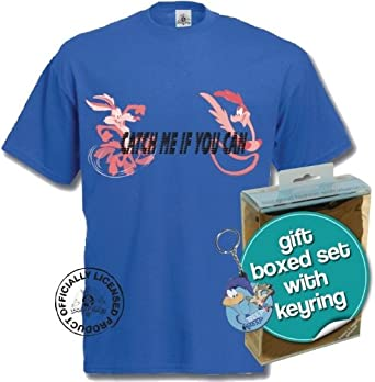 Roadrunner / Wile E Coyote T-Shirt and Keyring Giftset (Small, Royal Blue)