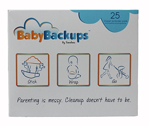 BabyBackups Diaper Extender Pads, 25 Pack - Prevent Diaper Blowouts - 1
