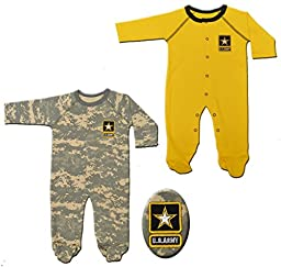 2pk Acu Army Baby Crawlers / Sleepers Yellow & Camoflauge (3-6 Months)