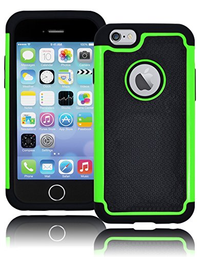"Bastex Hybrid Deluxe Green And Black Rugged Shock Armor Case For Apple Iphone 6, 4.7"" 6Th Generation front-65807"