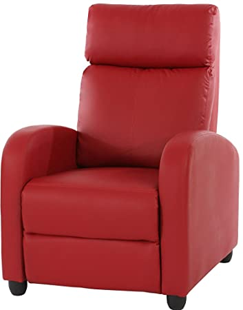 Fauteuil inclinable Denver simili cuir rouge, Dim : 105 x 72 x 92 cm -PEGANE-