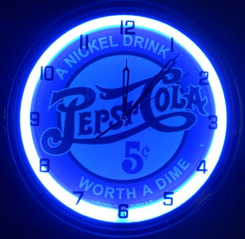 "PEPSI COLA - 5 CENTS WORTH A DIME 15"" NEON LIGHTED WALL CLOCK POP SHOP BAR VINTAGE STYLE GARAGE SIGN BLUE 2"