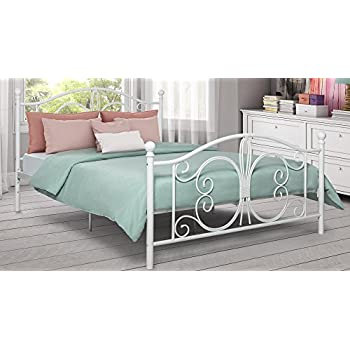 DHP Bombay Metal Bed Frame, Vintage Design and Includes Metal Slats, Full Size, White
