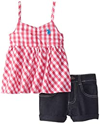 U.S. POLO ASSN. Little Girls\' Baby Doll Top with Denim Shorts, Pink, 2T