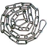Inox/Edelstahl Kette 1m geschweißte Glieder (Rundstahl-Kette Form C) mit 2 Karabiner Haken