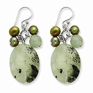 PriceRock Sterling Silver Prehnite/Jade/Green Freshwater Cultured Pearl Earrings