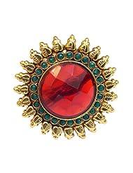Elegant Elements Rajwadi Ethnic Colored Stone Adjustable Ring For Women EER06