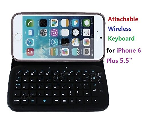 "Top® For Iphone 6 Plus 5.5 Inch Shock Proof Pu Leather Case With Wireless Bluetooth Keyboard, Iphone 6 5.5"" Detachable/Removeable Keyboard Case, Portfolio Keyboard Case For Iphone 6 Plus 5.5 Inch."
