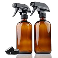 ChefLand Pack of 2 - 16 Oz. Refillable, Amber Glass Spray Bottles for Multi-Purpose Use: Cleaning, Aromatherapy, Natural Beauty Products and Cooking, With Adjustable Black Spray Top And 2 Storage Caps