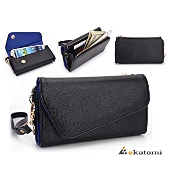 PU Leather Women's Wallet Clutch with Wrist Strap and Universal Phone Pouch fits LG GS390 Prime - BLACK & SAPPHIRE BLUE sale 2015