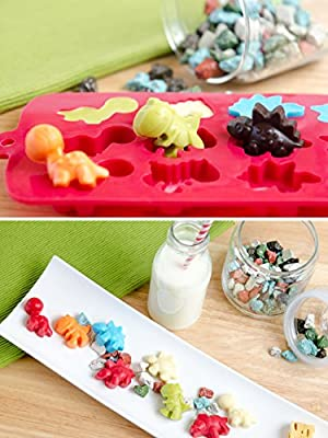 StarPack Premium Silicone Dinosaur Candy Molds (2 Pack) + Bonus 101 Cooking Tips