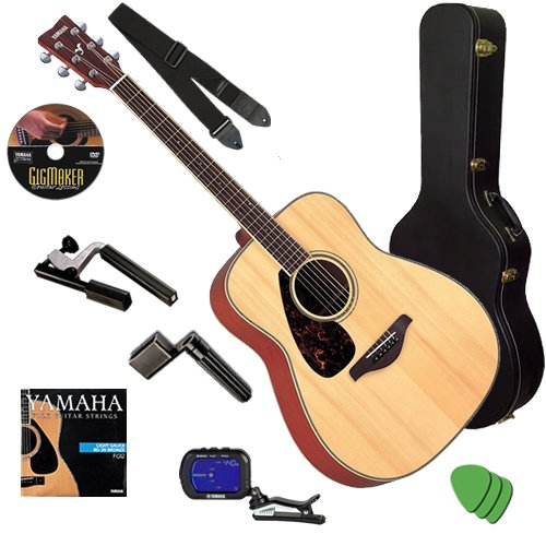 Yamaha FG720S Lefty Guitar STAGE BUNDLE w/ Hard Case, Tuner & Capo Best Quality