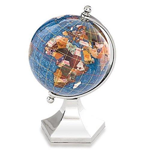 awardpedia kalifano 4 quot gemstone globe with marine blue