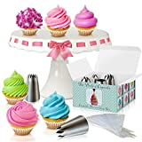 Cupcake Decorating Kit - The Perfect Cupcake By Love2bake -X-Large Stainless Steel Tips & Icing Bags (Color: Silver)
