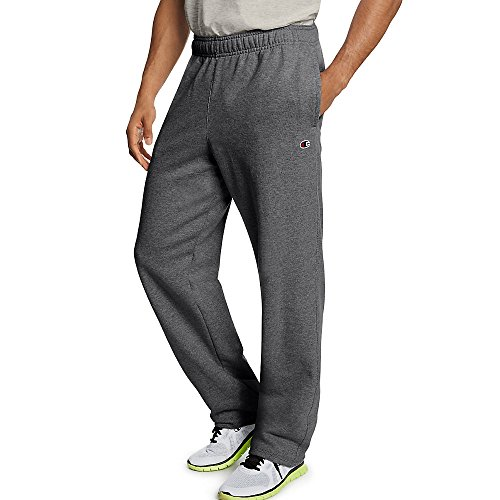 Champion Men's Powerblend Open Bottom Fleece Pant_Granite Heather_L