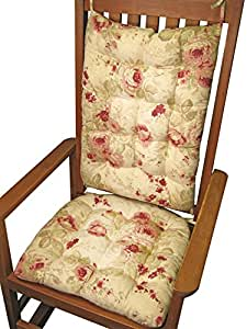 Shabby Chic Rocking Chair Pads : Amazon.com: Rocking Chair Cushion Set - Chablis Shabby Chic Floral Print - Reversible - Seat ...