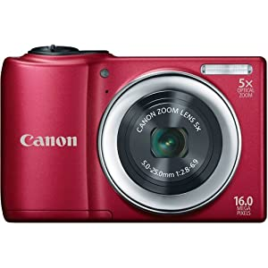 Canon 6181B005 PowerShot A810 16.0 MP Digital Camera with 5x Digital Image Stabilized Zoom 28mm Wide-Angle Lens with 720p HD Video Recording (Red)