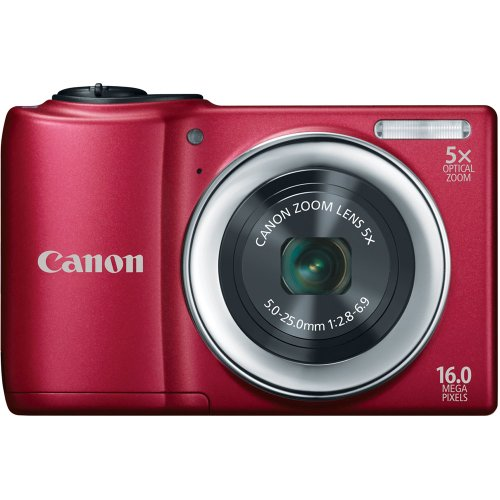 Canon PowerShot A810 16.0 MP Digital Camera with 5x Digital Image Stabilized Zoom 28mm Wide-Angle Lens with 720p HD Video Recording (Red)