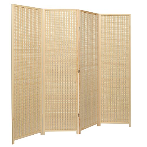 Hinged Room Dividers : Decorative freestanding beige woven bamboo panel hinged