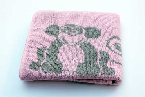 Eco Friendly Recycled Cotton Baby Blanket - Modern Animals in Pink & Grey - Made in USA - 1