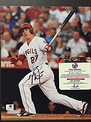 Autographed/Signed Mike Trout Los Angeles Angels of Anaheim 8x10 Baseball Photo with COA #3