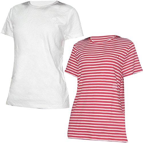 pack-de-2-liz-claiborne-womens-col-rond-manches-courtes-t-shirt-xl-blanc-et-rouge