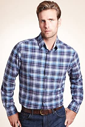 Blue Harbour Pure Cotton Cross Check Oxford Shirt