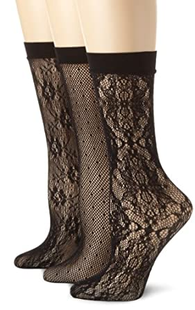 Calvin Klein Women's 3 Pack Lace Crochet Trouser Socks, Black, One Size
